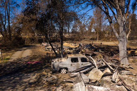 Burned homes and cars caused by Southern Oregon Almeda Fire, closeup