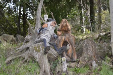 gnomos: Elfos en Forest Lake Puelo Foto de archivo