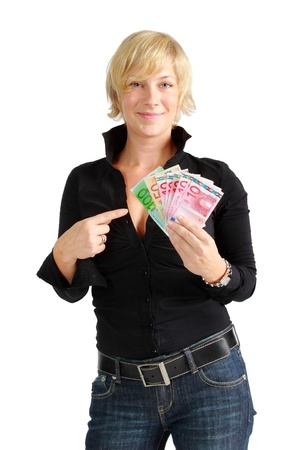 Young woman happy with money in her hands photo