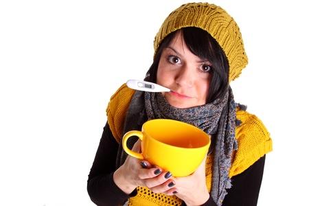 gripe: Mujer joven con fiebre