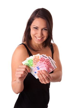mucho dinero: Mujer joven con una gran cantidad de dinero Euro Foto de archivo