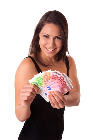Young woman with a lot of Euro money photo