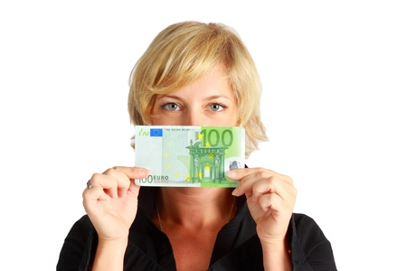euro banknote: Young woman with 100 Euro banknote