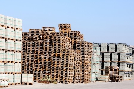 batch of euro: Stack of industrial pallets