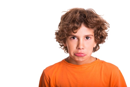 Isolated picture of sad young man photo