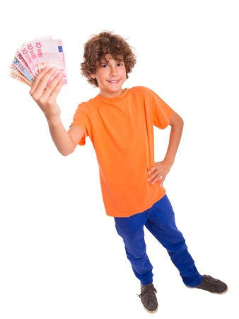 Young kid with Euro banknotes in hands photo
