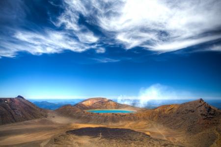 tongariro: Lake Blue - top of the Tongariro crossing hiking Stock Photo