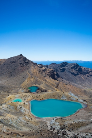 new scenery: View to the Emerald Lakes  Tongariro Crossing on the North Island of New Zealand