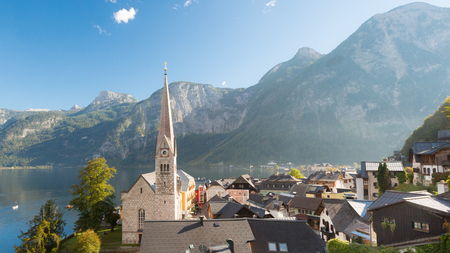 austrian village: Hallstatt village in Austria on a beautiful day in autumn