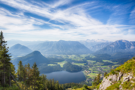 austrian village: View on the Altausseer Lake and the village of Altaussee in the Austrian Salzkammergut.