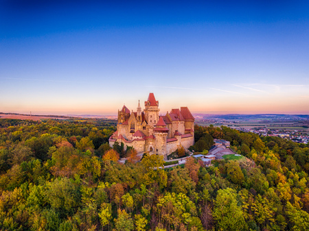 The famous Kreuzenstein castle and ruin in the Austrian Weinviertel. Leobendorf, close to Vienna.