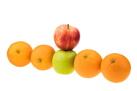 Compare apples with oranges Stock Photo