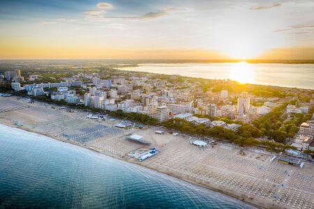 Lignano Sabbiadoro at the Adriatic sea coastline in Italy, Europe during summer. 版權商用圖片