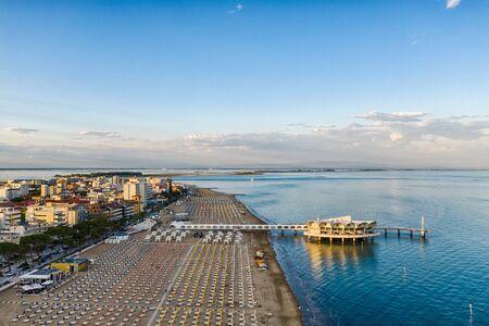 Lignano Sabbiadoro beach at the Adriatic sea coastline in Italy, Europe during summer.