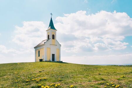 Michelberg in the Korneuburg district. Weinviertel in Lower Austria. Beautiful chapel on a small hill during springtime.