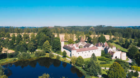 Gut Ottenstein in Waldviertel, Lower Austria. Aerial view to the beautiful historic building close to lake Dobra.