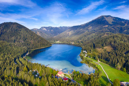 Lake Erlaufsee and Gemeindealpe mountain in Lower Austria, Mostviertel