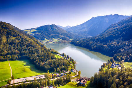 Lunzer See in the Ybbstal Alps. Aerial view to the idyllic lake in Lower Austria. Stock fotó