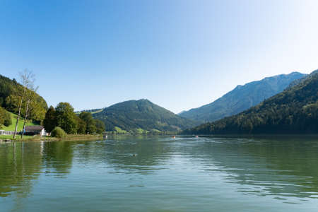 Lunzer See in the Ybbstal Alps. View to the idyllic lake in Lower Austria. Stock fotó