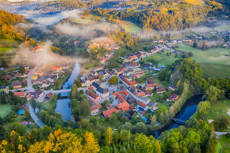 Krumau am Kamp in Waldviertel. Beautiful town in Lower Austria, aerial view.