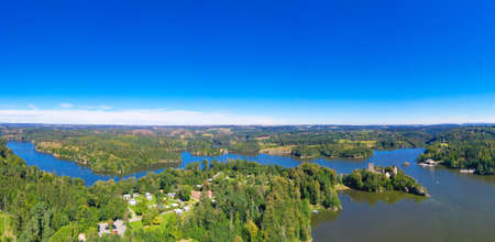 Ottenstein lake. Panorama view from above to the reservoir and the old ruin of Lichtenfels during summer. Beautiful recreation area in Waldviertel, Lower Austria.