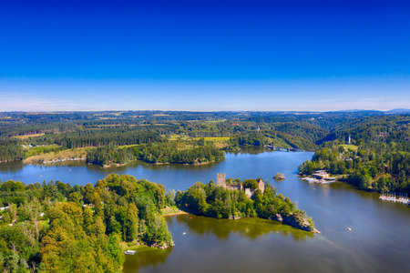 Ottenstein reservoir and Lichtenfels in Waldviertel, Lower Austria. Aerial view to the lake and the historic landmark ruin. Stock fotó