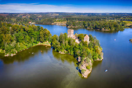 Lichtenfels ruin in Waldviertel region. Beautiful famous landmark at lake Ottenstein in Waldviertel, Lower Austria. Aerial view during summer. Stock fotó