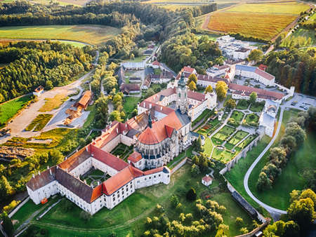 Stift Zwettl in the Waldviertel region, Lower Austria. Aerial view of the famous monastery during summer.