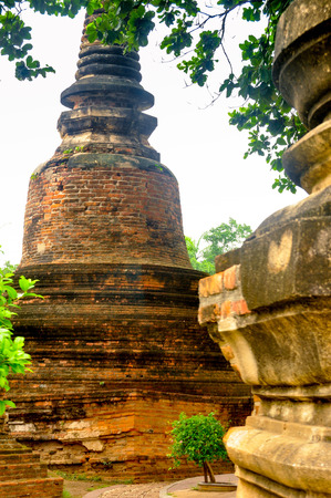 Brick pagoda at Wat Yai Chai Mongkhon, Thailand Stock Photo