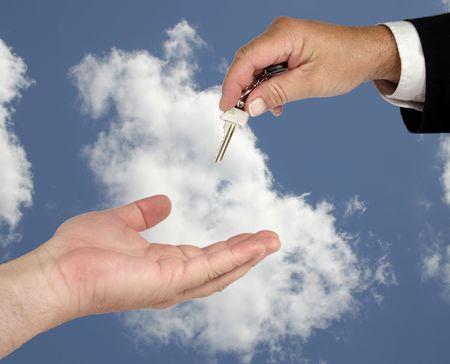 Hand over the keys Stock Photo