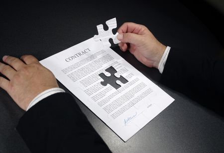 putting a contract together Stock Photo
