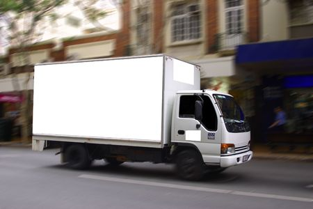 blank truck sign ready for advertising Stock Photo