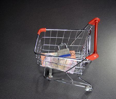 bugs shopping: asegure el carro de compras en l�nea con el dinero y la cerradura