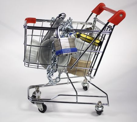 side shopping cart with lock and chains Stock Photo