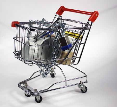 side angled front secure shopping cart
