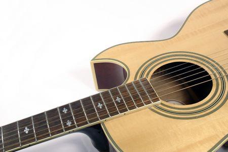 blonde guitar on white background Stock Photo
