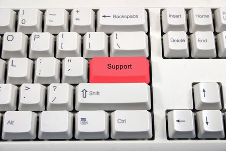 Support red button on keyboard Stock Photo