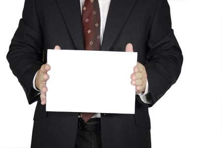 business man holds card with clipping path