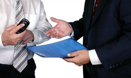 businessmen negotiate (clipping path included)
