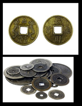 Collage of Chinese Feng Shui coins