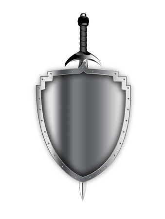 Silver riveted shield and sword on white background.