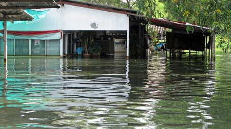 obliteration: LAMLUKKA (PATHUMTHANI), THAILAND – CIRCA NOVEMBER 2011 – Flooded shop circa November 2011 in Lamlukka. The entire province has been flooded as a result of an exceptional and unprecedented rainy season. Editorial