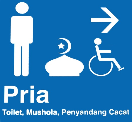 This sign (written in Bahasa Indonesia) can be found in many public places in Indonesia and indicates the toilet, the toilet for disabled, and the mosque.  photo