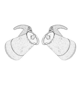 booster: Deux pots de caf� � l'italienne sur fond blanc Illustration