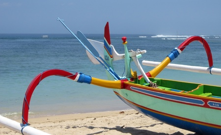 sanur: A lifeboat on the shores of a beach in Sanur (Bali), Indonesia