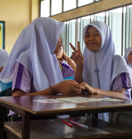 institute is holy: Girls in a Muslim public school in a rural area of Pathumthani province, Thailand