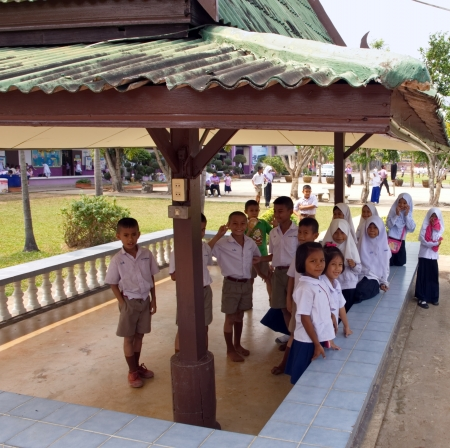 Some kindergarteners during recreation in a Muslim public school in a rural area of Pathumthani province, Thailand