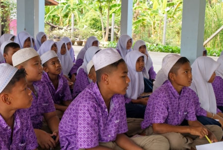 institute is holy: Boys and girls during class in a Muslim public school in a rural area of Pathumthani province, Thailand