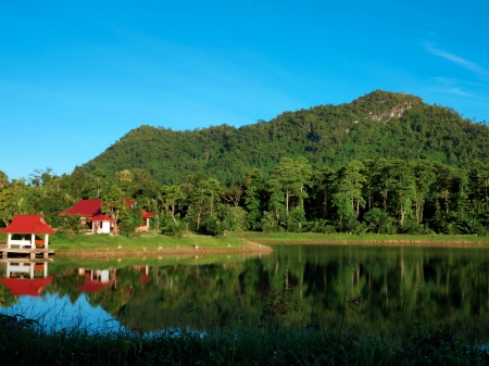 unrestricted: A reservoir in Chaloem Phra Kiat Rama 9 Public Park in Chumphon province, Thailand Stock Photo