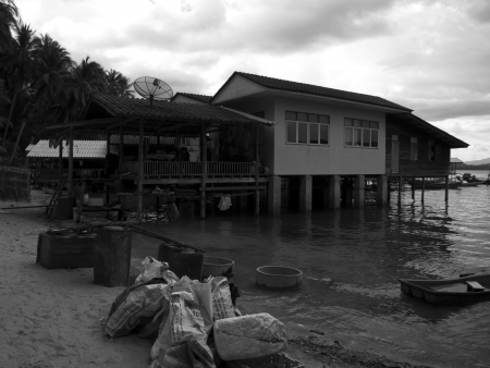A fishermen dwelling on the beach in Ko Phitak Island, Lang Suan district, Chumphon, Thailand